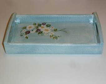 Wooden tray, handpainted, featuring daisies customized small mirrors