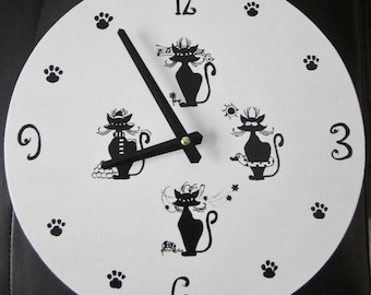 Clock wood cat black and white hand painted