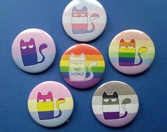 Gay pride LGBT cat pins, Gay pinset, No homo print, lesbian trans bisexual pansexual asexual ace