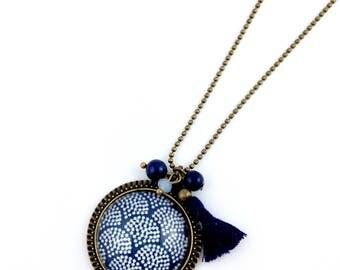 Bronze necklace - blue Cabchon pretty waves blue Pompom