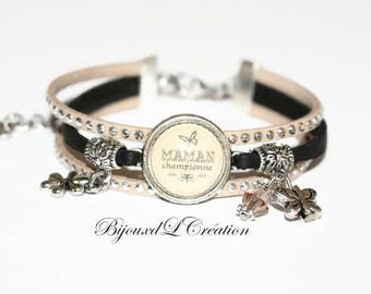 "Bracelet ""Champion MOM"" Ribbon rhinestone cabochon"