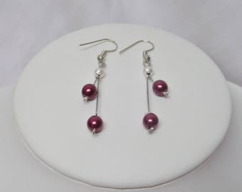 Wedding ceremony or party, Burgundy pearls earrings