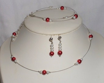 Set 3 piece necklace, bracelet, wedding, Bridal earrings red and white pearls
