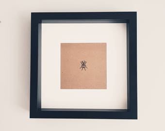 Black Framed Stag Beetle Insect Ink Stamp Rustic Scandinavian Picture