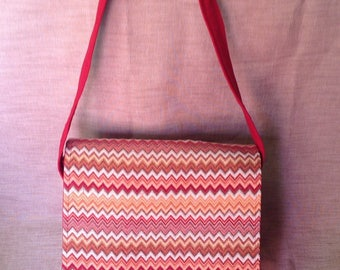 Red Canvas flap and Chevron canvas bag.
