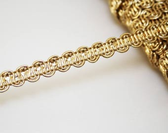 Gold braid passementerie trim, 1 m Gold Ribbon 10 mm