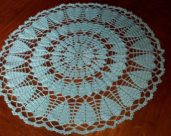 Handmade lace doily crochet, 32 cm, turquoise blue