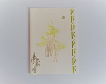 Card bamboo japanese theme green all occasions
