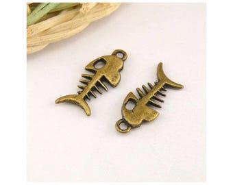 10 pendants accessories jewelry 8x18.5 mm fish charm
