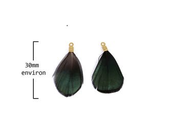 x 6 small feathers dyed green dark with gold caps 30mm approx.