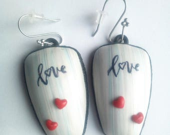 Polymer fimo type earrings. pastel colors and Red hearts
