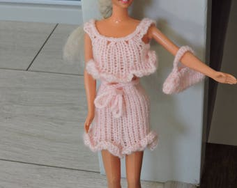 Skirt and top hand knitted Barbie