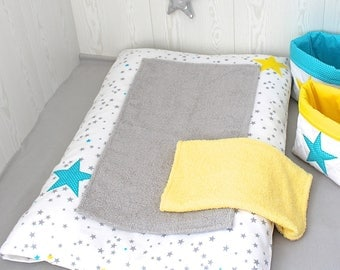 Changing pad cover, white, yellow, grey and turquoise