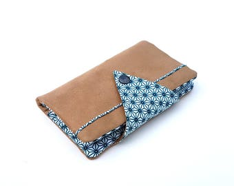 Portfolio Companion (out-one) - Camel, blue & white - pattern Japanese Asanoha - sold