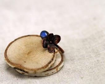 Hydrangea and Labradorite Ring, Hydrangea Ring, copper electroformed, spectrolite ring, Labradorite Ring, real flower ring, 17,0 mm