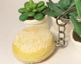 Sugar in polymer clay doughnut keychain