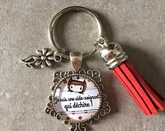96b664f3abc Aide Soignante - Porte clés cabochon verre de 20mm