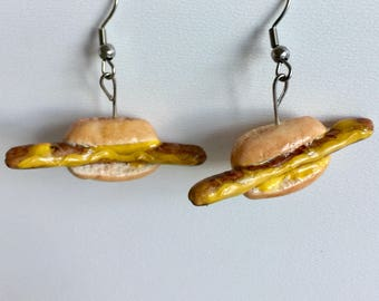 Grilled sausages earrings