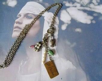 Multi stones necklace, Bohemian chic necklace, gems necklace Pink Quartz-Jade-Chrysoprase-Hematite-Onyx-, unique piece
