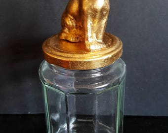 Cat glass jar / Upcycled / gilding