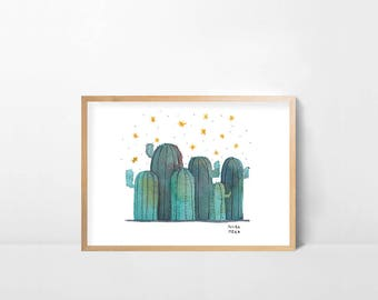 Cactus at night print. Digital download
