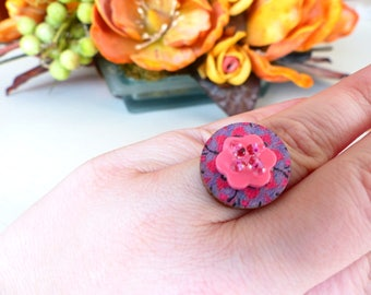 buttons flowery wood Adjustable ring