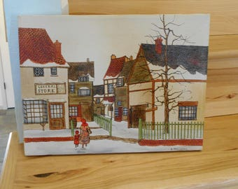 H. Hargrove Painting/Vintage Hargrove Serigraph/General Store Painting by Hargrove/Vintage Oil Painting