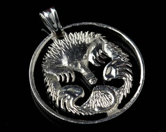 Australia 5 Cents Cut Coin Pendant & Necklace Echidna Hedgehog spiny anteater
