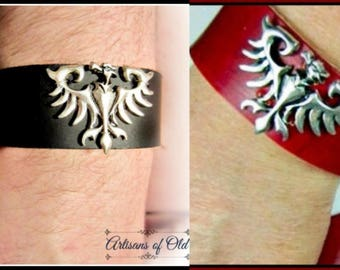 Phoenix cuff, Black Leather Cuff, Pewter Phoenix, Red Leather Cuff, Silver Firebird Cuff