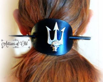 Trident Black Leather Hair Slide, Percy Jackson, Silver Trident Barrette, Brass Trident, CHOOSE COLOR