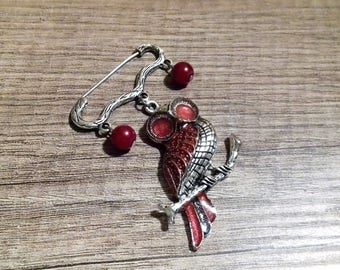 Red owl silver brooch - Red pearl brooch - Red pearl silver brooch - Owl brooch - Owl charm - Owl jewelry