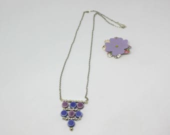 Ceramic collection: Necklace blue and purple - ceramic beads offered earrings