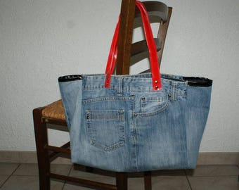Recycled jeans tote bag / beach bag