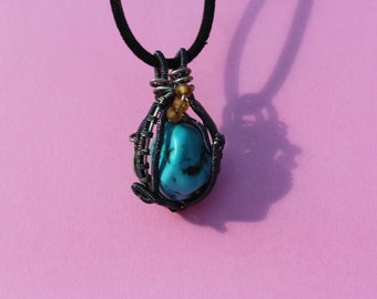 Wire Wrapped Turquoise Crystal