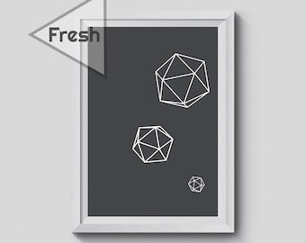 Diamond Geometric Art, Black and White Abstract, Triangle print, Black and White Prints, Minimalist Modern Wall Decor,  Printable Artwork