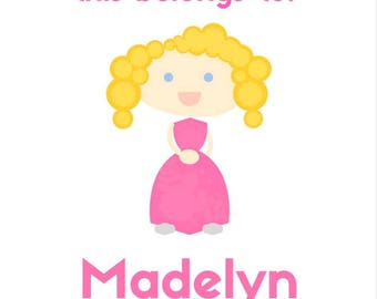Blonde Hair with Blue Eyes, Pink Dress - This Belongs To... - Customizable Digital Sticker File