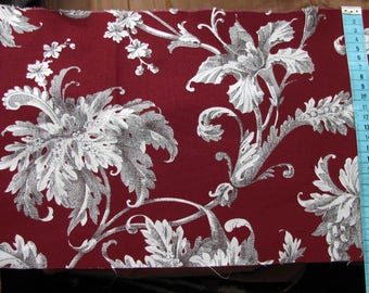 Coupon coarse Calico baroque floral patterns on dark red background