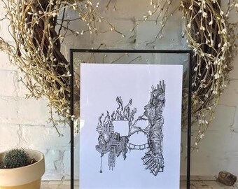 Forgotten Cliff - PRINT of Original Pen and Ink Drawing