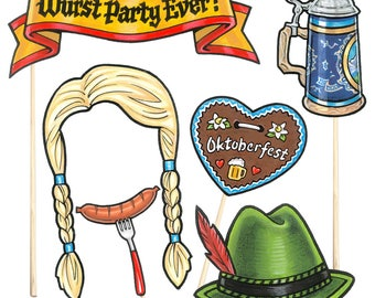 18 Oktoberfest Party Photo Booth Props - Instant Download - Free Photo Booth Sign