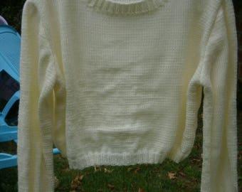 Ecru wool and acrylic, V neck sweater