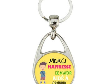 """message with baby boy """"thank you for helping me grow teacher keychain"""