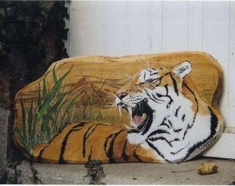 animal painting on wood: Tiger