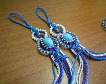 Foot jewelry / Barefoot micro macrame and beads blue/purple/white