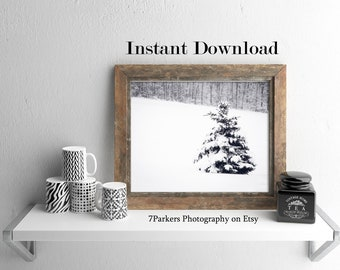 Rustic Tree Print; Printable Wall Art Landscape; Winter Wall Art; Gift for Nature Lover; Minimalist Tree Print;Bathroom Decor;Entryway Print