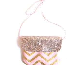 Girl's sling purse in coton and glitter canvas