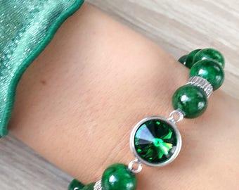 Green Jade bracelet and Swarovski crystals