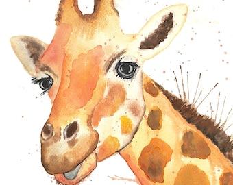 Giraffe Watercolour Painting Giclee Print A4