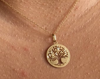 18kt Tree of Life Gold Pendant,Massive Gold