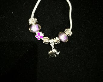 European bracelet with European beads purple, elephant