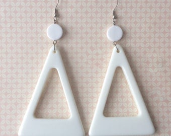 Retro 1980's White Large Triangle Dangle Drop Statement Earrings